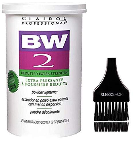 Clairol BW2 Basic White Powder Lightener BW2 Extra Strength, Dedusted (w/Sleek Tint Brush) BW 2 Hair Lightening, Bleaching, Blonding, Bleach (32.0 oz TUB (BW2 Formula))