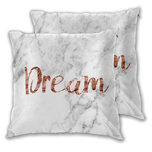 Juego de 2 fundas de almohada cuadradas, fundas de almohada de mármol de oro rosa, fundas decorativas para el hogar, fundas de cojín suaves para dormitorio, sofá, sala de estar, 45,7 x 45,7 cm