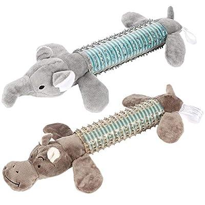 FANTESI 2 Pcs Plush Squeaky Dog Chew Toys Interactive Dental Toys Pet Toys Dog Plush Toy for Small and Medium Dogs