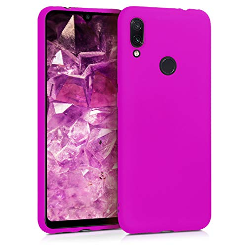 kwmobile Funda Compatible con Xiaomi Redmi Note 7 / Note 7 Pro - Funda Carcasa de TPU Silicona - Protector Trasero en Violeta neón