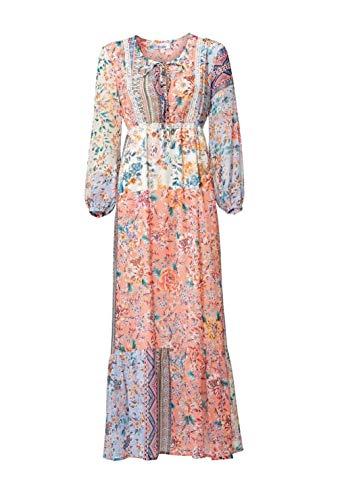 Linea Tesini Damen Designer-Maxikleid, bunt, Größe:19 (38)
