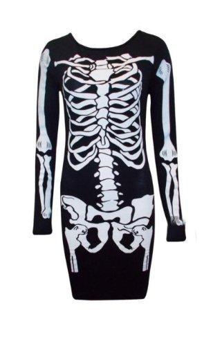 Generic - Costume de Déguisement Femme Robe Moulante Motif Squelette - Neuf - Noir, 40-42