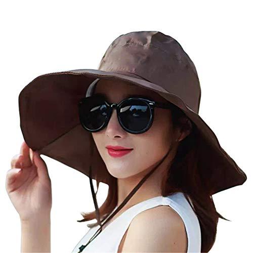 Outdoor UV Protection Rain Cap Waterproof Rain Hat Wide Brim Bucket Hat (Brown)