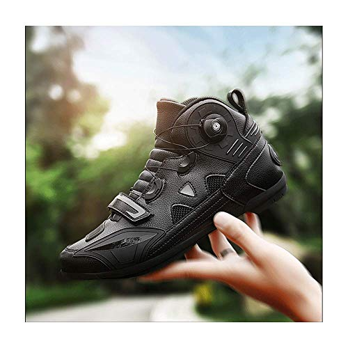 HAOLIN Motorbike Protective Gear Cycling Cycle Riding Biker Chopper Touring Ankle Shoes+ Insoles,motorcycle Quick Adjust Non-slip Boots,Black-39