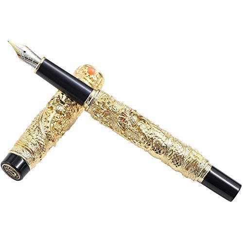 Yxp Drachen Füllfederhalter F Nib Für 18KGP Füllfederhalter Pen Pen Mit Altem Set,Gold