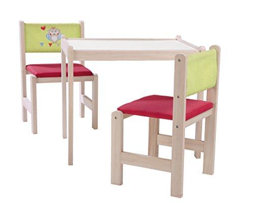 roba Kinder Sitzgruppe 'Eule', Kindermöbel Set aus 2  Kinderstühlen & 1 Tisch, Sitzgarnitur Holz mit Stoff gepolstert