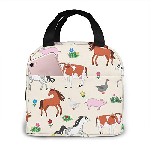 antkondnm Farm Animals Insulated Lunch Tote Bag Durable Reusable Lunch Box Container for WomenMenKidsPicnicWorkSchool
