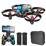 OBEST Mini Drone para Niños con Cámara 720P, Colores LED parpadeando, Dual Cámara Posicionamiento de Flujo óptico, RC Helicopter Control Remoto, Modo sin Cabeza, 2 Baterías, Juguetes Regalos, Negro