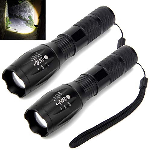 Flashlights, SONATA LED Flashlights (2 PACK), Handheld Light with High Lumens, Zoomable, 5 Modes, Water Resistant, for Camping, Outdoor, Emergency, Everyday Flashlights