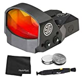 Sig Sauer ROMEO1 1X30mm Reflex Red Dot Sight, Red Dot Reticle - Black + 2 Additional Batteries and Lens Cleaning Kit (3 MOA)