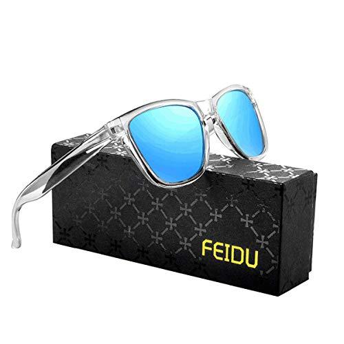 FEIDU Retro Polarisierte Damen Sonnenbrille- Herren Sonnenbrille Outdoor UV400 Brille,Farblinse, Strandreisen unerlässlich für Fahren Angeln Reisen FD 0628 (2-Transparentes-blau, 60)