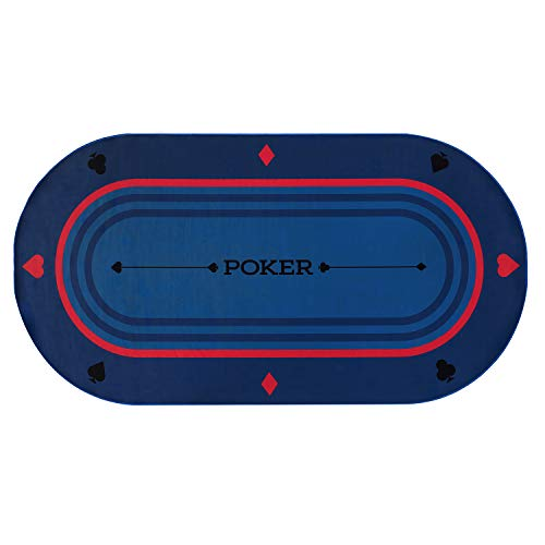 """Rally and Roar Poker Tabletop Oval 70' x35"""", Rubber Foam with Carry Case - Portable, Large Poker..."""