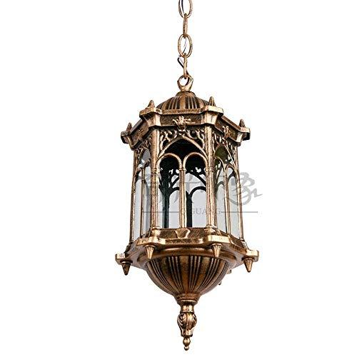 LHTCZZB Sencillo Europea candelabro de bronce decorativo de la lámpara al aire libre retro luz pendiente Balcón del pasillo del pasillo del jardín E27 Gazebo decorado Isla Araña