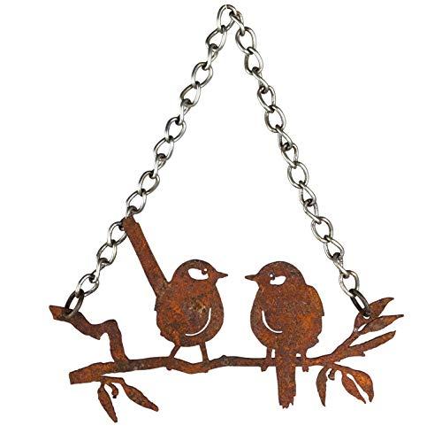 Crispe home & garden Gartendeko Vögel auf einem AST – Rostdeko zum Hängen aus Metall mit Edelrost Patina Maße (HxBxT) 12 x 20 x 1,7 cm
