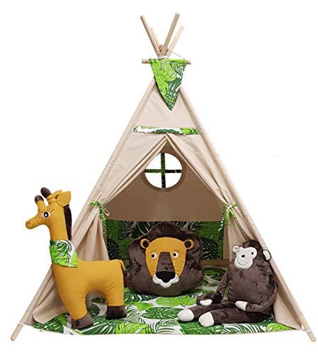 izabell Kinder Spielzelt Teepee Tipi Set für Kinder drinnen draußen Spielzeug Zelt Indianer Indianertipi mit Fenster Tipi mit Zubehör Tipizelt URBAN Jungle