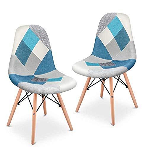 Mc Haus SENA Patchwork - Pack 2 sillas de comedor, diseño patchwork tapizado, sillas tower para salon, cocina y oficina, estilo retro, multicolor azul, 49x46x84cm