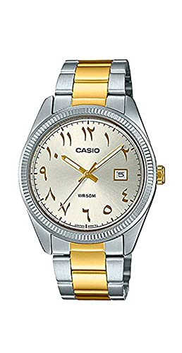 Casio MTP1302SG-7B3V Men's Two Tone Stainless Steel Silver Coptic Numbers Dial 3-Hand Analog Watch