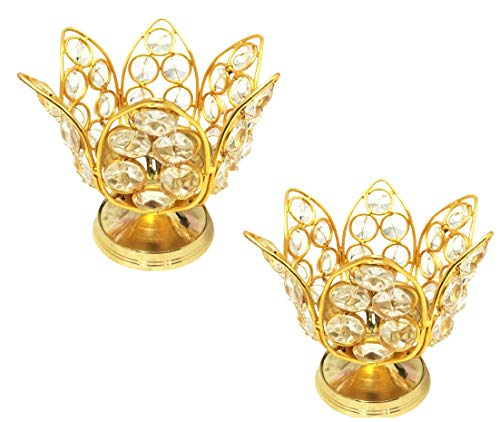 SSR Pack of 2 Handmade Brass Lotus Crystal Diya(6 inch x 6 inch x 4.5 inch) Golden