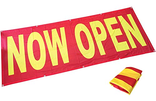Price comparison product image 4Less 3x8 Ft Now Open Banner Fabric Store Sign Vinyl Alternative - Fabric rb