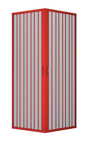 Duschabtrennung, Duschkabine, Größe: 75 x 75 cm, H 185 cm, aus PVC Kunststoff, Zentrale Eck Öffnung, 2 Falttüren, ROT