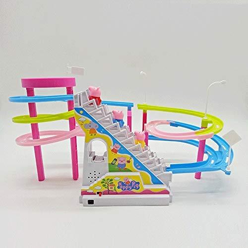 FENGLI USB intelectual juguete Música Resplandeciente de dibujos animados de carga Escalada cerdo Electric Slide Escalera del coche de carril Toypig subir escaleras Juego Conjunto eléctrico de la músi