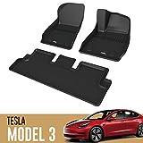 3D MAXpider テスラ モデル3 Tesla Model 3 2020-2021 カーマット ラバー 立体構造 防水 滑り止め 無臭 水洗い 軽量 保護 専用 フィット 掃除簡単 装着簡単 テスラ モデル3 フロント リア セット ブラック