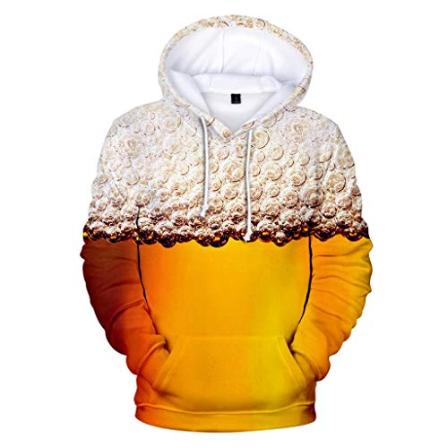 Zylione Hoodies Sweatershirt Tops für Herren Männer Bier Festival 3D Druck Langarm Rundhalsausschnitt 2019 Oktoberfest-Thema 3D Druck Langarm Kapuzenpullover Hoodie Pullover M-22XL