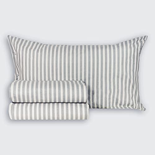 R.P. Juego de sábanas de algodón Mille Rayas, fabricado en Italia, 4 medidas, matrimonial, 2 plazas, gris