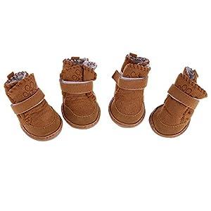 Domybest Neuf Lovely Chaud Coton Chien Pet Chaussures Bottes de Neige Bottes Rose Kaki