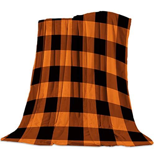 "SODIKA Throw Blanket for Couch Bed Sofa Chair,Luxury Decorative Flannel Fleece Microfiber Throw Blankets,Rustic Orange Halloween Black Buffalo Check Plaid Pattern Twin Size 40""x50"""