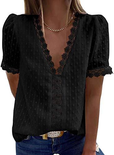 Jolicloth Camiseta de Manga Corta Mujer Blusa de Crochet de Encaje con Cuello en V Sexy de Verano Camisas T-Shirt Sólido Shirt Top Negro L