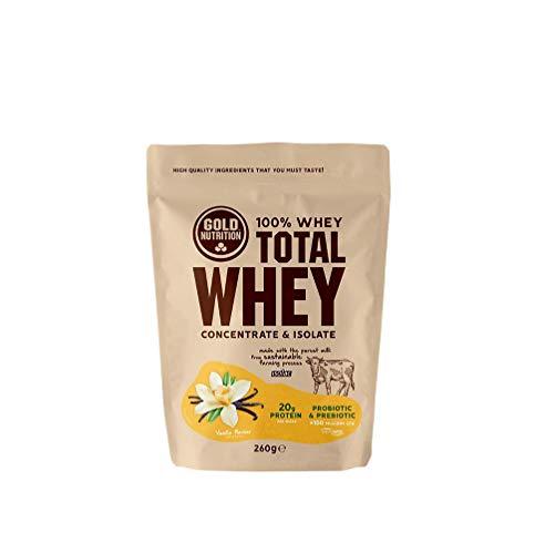 Goldnutrition Total Whey Proteina 260g, Vainilla, Aumenta y Conserva Músculos