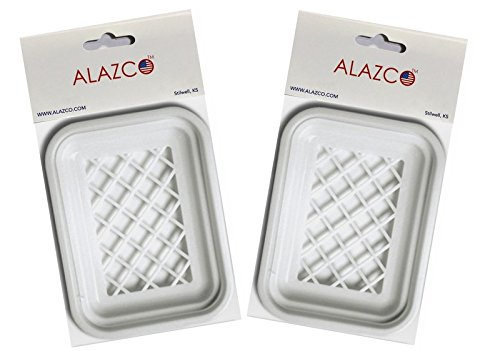"""ALAZCO 2 Soap Dish with Drain Large Rectangle 4-3/4"""" x 3.5"""" White Great for Bathroom & Kitchen"""