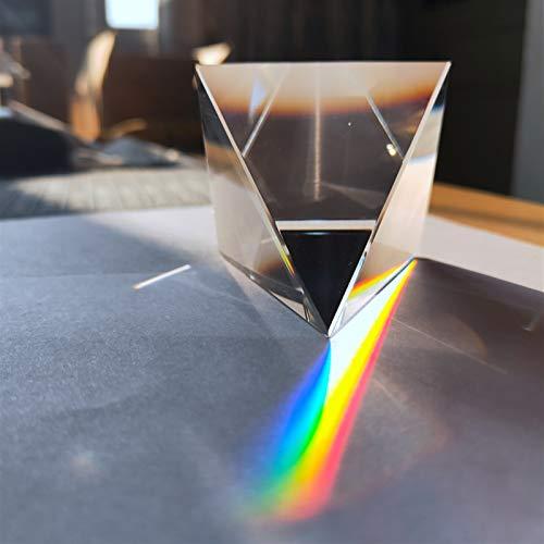ERTERT Transparente Vidrio 60 mm Vidrio óptico Transparente Arco Iris Rectangular poliédrico popularización Ciencia estudiando Estudiante pirámide Prisma Adornos