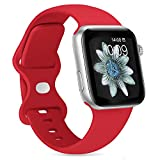 PNCHEN Sport Band Compatible with Apple Watch Bands 38mm 40mm 42mm 44mm Soft Silicone Strap Wristbands for iWatch Series 6 5 4 3 2 1 SE Women Men (Red, 42mm/44mm)