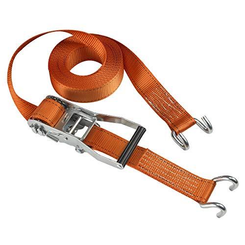 Master Lock 3260EURDAT Fast Link Spanngurt mit Ratsche und J-Haken, Orange, 9 m x 50 mm Gurt