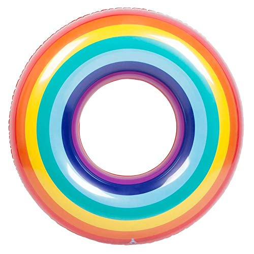 Inflatable Swimming Pool Floats Rainbow Swimming Ring Floats 120cm 90cm Summer Beach Swim Tubes Rings for Kids Adults (120#)