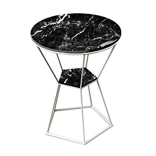 Tables HAIZHEN Pliable Basse, d'appoint en métal/Faux marbre, à 2 Niveaux (Couleur : C)