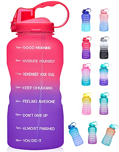 Giotto Large 1 Gallon/128oz (When Full) Motivational Water Bottle with Time Marker & Straw, Leakproof Tritan BPA Free for Fitness, Gym and Outdoor Sports-Red/Violet Gradient