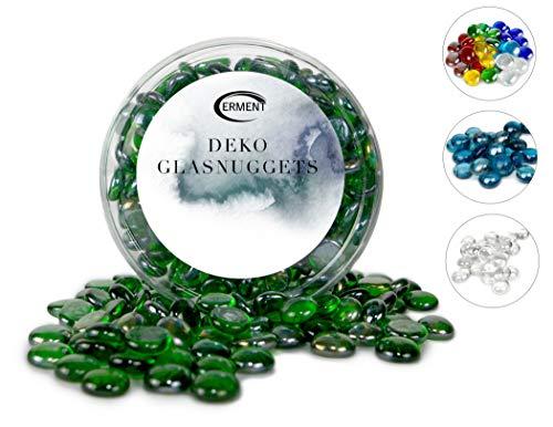 Erment - Hübsche Glasnuggets grün- 800g – formschön & sauber – Glas Muggelsteine, Dekosteine I Deko, Vase, Legematerial, basteln etc.