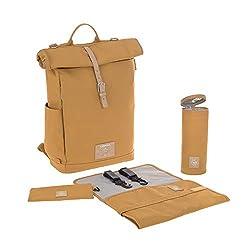 LÄSSIG Baby Wickelrucksack mit Wickelunterlage, Kinderwagenbefestigung, Flaschenwärmer wasserabweisend nachhaltig produziert/Rolltop Backpack curry