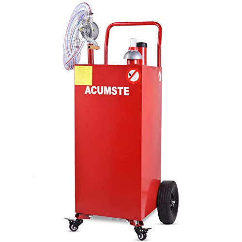 ACUMSTE 35 Gallon Fuel Tank, Portable Gas Caddy, Fuel Transfer Tank with Pump for The Car Boat Motorcycle Lawn Mowers Tractors,Hand Siphon 2 Pump Flat-Free Solid Rubber Wheels Gasoline Storage
