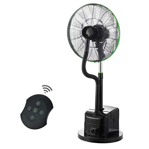 Simple Deluxe 18 Inch Misting Fan Adjustable Height Oscillating Cooling Pedestal with Remote Control, Ideal for Backyards, Patios, Black