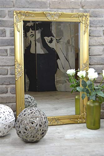 Livitat® Wandspiegel Spiegel Badspiegel barock antik Gold 90 x 60 cm LV9033