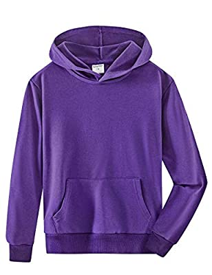 Spring&Gege Youth Solid Pullover Sport Hoodies Soft Kids Hooded Sweatshirts for Boys and Girls Purple Size 9-10 Years