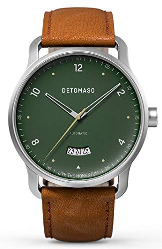 DETOMASO VIAGGIO Automatic Green Herren-Armbanduhr Analog Quarz Italienisches Lederarmband Braun