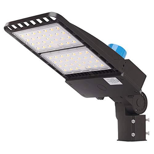 LED Parking Lot Lighting 200W, 26000LM 5000K Daylight with Dusk to Down Photocell [800W HPS Equiv.] Commercial LED Parking Lot Lights Adjustable Outdoor Pole Mount LED Shoebox Light