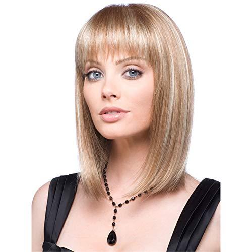 Xunqiars Perruque courte pour femme avec coupe au carré naturelle et cheveux raides synthétiques résistants à la chaleur d'apparence réaliste Blond clair