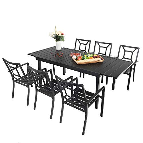 Sophia & William Patio Dining Set, 7 Piece Metal Outdoor Expandable Dining Table Set Bistro Furniture Set - 1 Rectangle Expanding Dining Table and 6 Backyard Garden Outdoor Chairs, Black