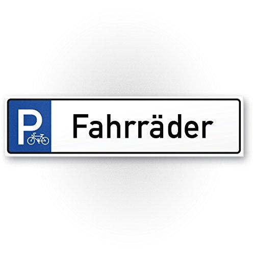 Parkplatz, Stellplatz Fahrräder Kunststoff Schild (40 x 10cm), Hinweisschild Fahrradparkplatz, Stellplatz Reserviert Fahrräder - abstellen erlaubt, Parken Fahrradfahrer